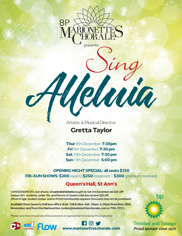 Marionettes Chorale Sing Alleluia Christmas Concert Flyer Trinidad 2016