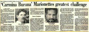 1989 - Carmina Marionettes greatest challenge